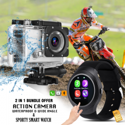 2 in 1 Bundle Offer, Universal Action Camera HD 1080P,Water Proof, E-TOP Sporty Smart Watch V8