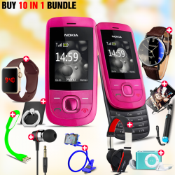 10 in 1 Bundle Offer , Nokia 2220S Mobile Phone ,Portable USB LED Lamp, Wired Earphones, Ring Holder, Headphone, Mobile Holder, Macra Watch, Yazol Watch, Selfie Stick, Mp3 Player
