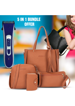 5 in 1 Bundle Offer, Ladies Fashion 4pcs Hand Bag, LBG1, Aknova Rechargeable Hair Trimmer, AK8802