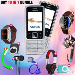 10 in 1 Bundle Offer , Nokia 6300 Mobile Phone ,Portable USB LED Lamp, Wired Earphones, Ring Holder, Headphone, Mobile Holder, Macra Watch, Yazol Watch, Selfie Stick, Mp3 Player