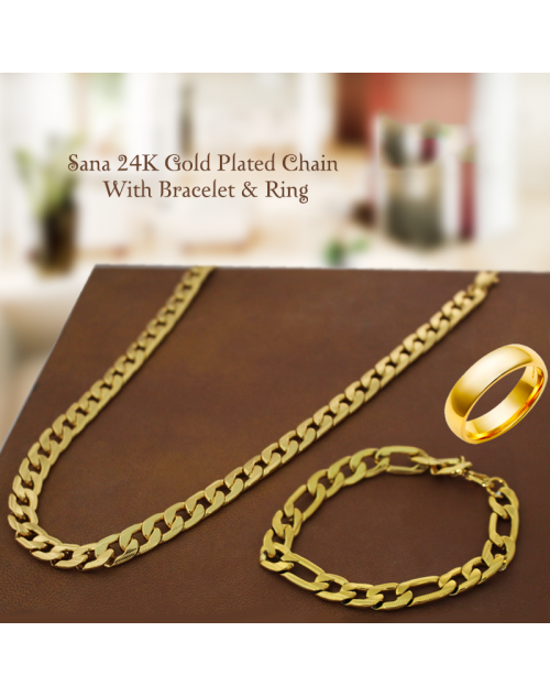 Sana 24K Gold Plated Chain With Bracelet & Ring For Unisex, SNS55