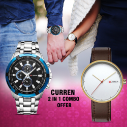 2 in 1 combo offer,Curren Stainless Steel Watch For Men,8023,Curren Genuine Leather Band Watch For Unisex, M8223
