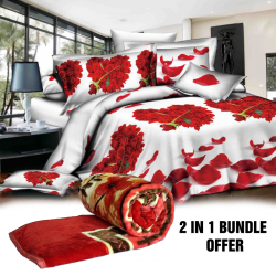 2 In 1 Special Offer, 8d Bed Sheet Exclusive Collection, Flannel Single Blanket Super Soft Assorted Colours And Assorted Design's 160x200cm, Ba04