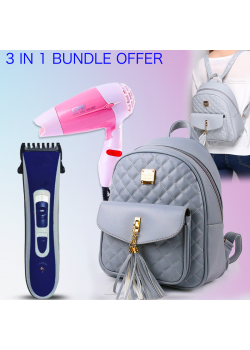 3 in 1 Bundle Offer, Ladies Backpack Soft Casual Rivet Female Shoulder Bag, Zx3622, Aknova Rechargeable Hair Trimmer, AK8802, Ecosona Foldable Mini Hair Dryer 1000 Watts, B23