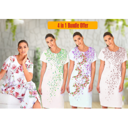 4 in 1 Bundle Offer, Women Cotton Nighty Gown Assorted Colors And Designs, G1