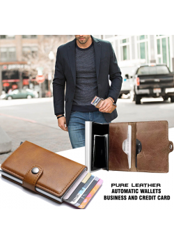 Automatic wallets PU leather business and credit card pop up mini slim wallet 14 cards holder