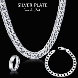 Buy 3 In 1 Bundle Offer, Sana Jewelry Silver Plated Chain Necklace, Bracelet With Ring, SJR034