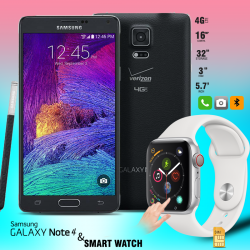 Buy 2  In 1 Bundle Offer,Samsung Galaxy Note 4 N910AR, Universal L6 SmartWatch