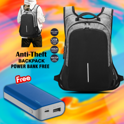 Buy 2 in 1 Bundle Offer, Ledmomo Anti-Theft Backpack With USB Charge Port Concealed Zippers And Larger Volume Capacity Lightweight Waterproof For School Travel With Free Power Bank