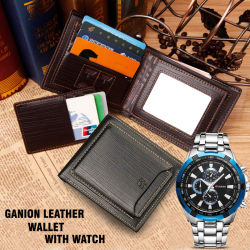 Casual Fashionable Design Excellent Quality Ganion Leather Men's Wallet With Curren Stainless Steel Watch For Men,8023