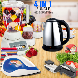 Buy 4 in 1 Bundle Offer, Top Sonic 2 in 1 Juice Blender 1.5 Liters Jar 4 Speed 350w, Cyber Non-stick Sole Plate Dry Iron 1200 Watts, Zaiba 2.0 Litre Stainless Steel Kettle, Clever Cutter 2 in 1 Knife & Cutting Board, Ts999