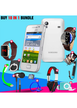 10 in 1 Bundle Offer,Samsung Galaxy Ace S5830i, Portable USB LED Lamp, Wired Earphones, Ring Holder, Headphone, Mobile Holder, Macra Watch, Yazol Watch, Selfie Stick, Mp3 Player