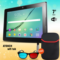 ATOUCH Wifi Tablet 7 inch, Android 4.2.2,  Function, 8GB, 1 GB DDR3, WiFi, Dual Core, Dual Camera Free Pouch,touch pen,3DGlass