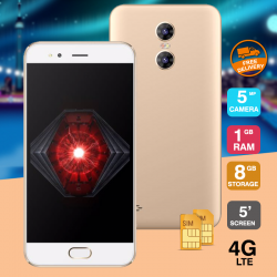 Crescent Wing 5, Smartphone with 4G, Android 6.0 (Marshmallow), 5. Inch HD Display, 1GB RAM, 8GB Storage, Dual Camera, Dual SIM - Gold
