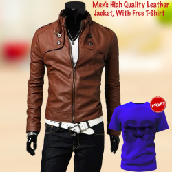 Tracker Men's High Quality Leather Soft Jacket, With Free T-Shirt, TR529
