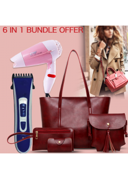 6 in 1 Bundle Offer, Ladies Fashion 4pcs Hand Bag, LBG1, Aknova Rechargeable Hair Trimmer, AK8802, Ecosona Foldable Mini Hair Dryer 1000 Watts, 1324