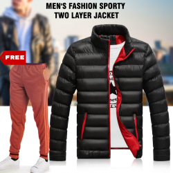 Stylish Men's Fashion Sporty Two Layer Jacket, HD8