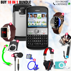 10 in 1 Bundle Offer , Nokia E5 Mobile Phone ,Portable USB LED Lamp, Wired Earphones, Ring Holder, Headphone, Mobile Holder, Macra Watch, Yazol Watch, Selfie Stick, Mp3 Player