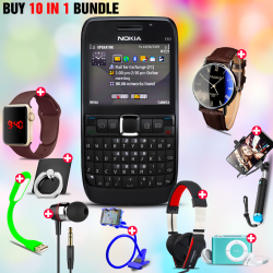 10 in 1 Bundle Offer , Nokia E63 Mobile Phone ,Portable USB LED Lamp, Wired Earphones, Ring Holder, Headphone, Mobile Holder, Macra Watch, Yazol Watch, Selfie Stick, Mp3 Player