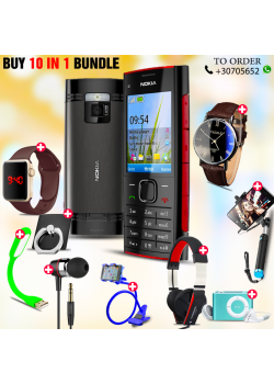 10 in 1 Bundle Offer , Nokia X2-00 Mobile Phone ,Portable USB LED Lamp, Wired Earphones, Ring Holder, Headphone, Mobile Holder, Macra Watch, Yazol Watch, Selfie Stick, Mp3 Player