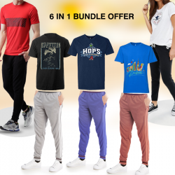 6 in 1 Bundle Offer,Unisex striped shirt And Tracksuit Set Assorted Colors And Designs