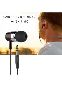 Wired Earphones with Mic, Black