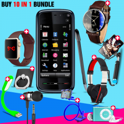 10 in 1 Bundle Offer , Nokia 5230 Mobile Phone ,Portable USB LED Lamp, Wired Earphones, Ring Holder, Headphone, Mobile Holder, Macra Watch, Yazol Watch, Selfie Stick, Mp3 Player
