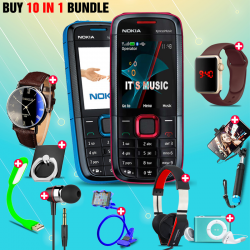 10 in 1 Bundle Offer , Nokia 5130 Mobile Phone ,Portable USB LED Lamp, Wired Earphones, Ring Holder, Headphone, Mobile Holder, Macra Watch, Yazol Watch, Selfie Stick, Mp3 Player