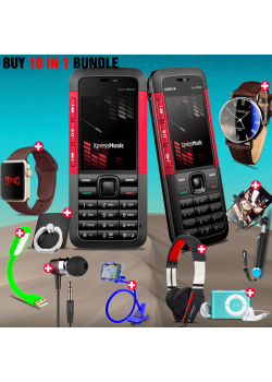 10 in 1 Bundle Offer , Nokia 5310 Mobile Phone ,Portable USB LED Lamp, Wired Earphones, Ring Holder, Headphone, Mobile Holder, Macra Watch, Yazol Watch, Selfie Stick, Mp3 Player