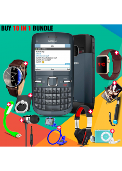 10 in 1 Bundle Offer , Nokia C3 Mobile Phone ,Portable USB LED Lamp, Wired Earphones, Ring Holder, Headphone, Mobile Holder, Macra Watch, Yazol Watch, Selfie Stick, Mp3 Player