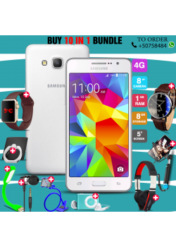 10 in 1 Bundle Offer , Samsung Galaxy Grand Prime G530H ,Portable USB LED Lamp, Wired Earphones, Ring Holder, Headphone, Mobile Holder, Macra Watch, Yazol Watch, Selfie Stick, Mp3 Player