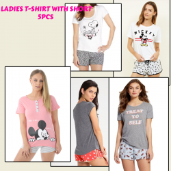 Mickie 10PCS Nightwear Ladies T-shirt With Short, N9987