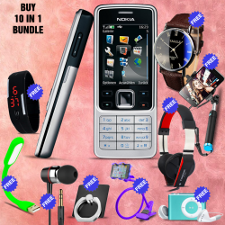 10 in 1 Bundle Offer , Nokia 6300 Mobile Phone ,Portable USB LED Lamp, Wired Earphones, Ring Holder, Headphone, Mobile Holder, Universal LED Band Watch, Yazol Watch, Selfie Stick, Mp3 Player