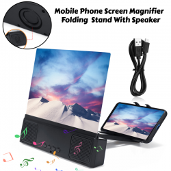 Mobile Phone Screen Magnifier High Resolution HD Video Amplifier Folding Enlarged Expander Stand With Speaker, V0013
