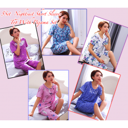 Suspenders Comfortable 5 Set Nightsuit Short Sleeves Top With Pajama Set. CH020