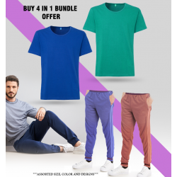 4 in 1 Bundle Offer, Unisex Universal T-Shirt And Tracksuit Set Assorted Colors And Designs