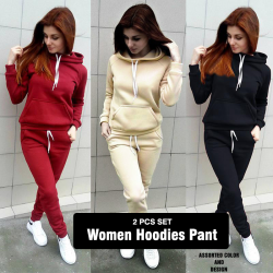Women Hoodies Pant Clothing Set New Casual 4 Piece Warm Clothes Solid Tracksuit Women Set Top Pants Ladies Suit, Hd1