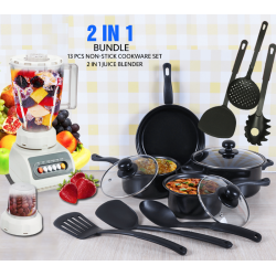 2 in 1 Bundle Offer, Royal Mark 13 pcs Non-Stick Cookware Set, Top Sonic 2 in 1 Juice Blender 1.5 Liters Jar 4 Speed 350W