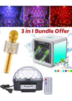 3 In 1 Bundle Offers, Wster Wireless Bluetooth Mini KTV Karaoke Microphone, Magic Led RGB Crystal Ball Dj Disco Light, Personal Space Air Conditioner Fan Air Cooler With 7 Color Led Light Purify & Humidity, Usb Charger, AC999