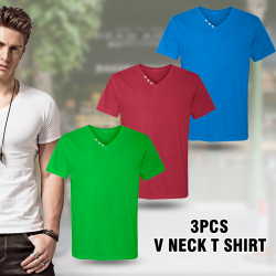 3 In 1 Bundle Offer High Quality Mens V Neck Zip T-Shirt, Assorted Colors, AE35444