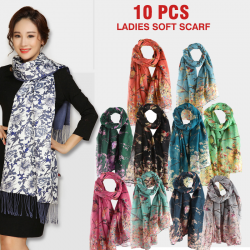 10 Pcs Ladies Soft Scarf Flower Design Assorted Color, CF009