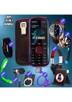 10 in 1 Bundle Offer, Nokia 5130 Expressmusic Mobile Phone, Portable USB LED Lamp, Wired Earphones, Ring Holder, Headphone, Mobile Holder, Universal LED Band Watch, Yazol Watch, Selfie Stick, Mobile Table Desk