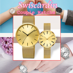 Swiscardin 2pcs Stainless Steel Pair Watches With Men & Women, SWIS22
