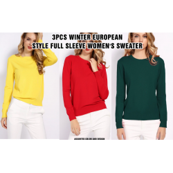 3pcs High Quality Pure Colors Spring Autumn Winter European Style Assorted Color Full Sleeve Women's Sweater Dress, TN100