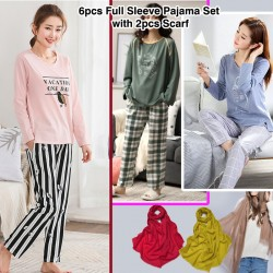 Women's Collections 6pcs Winter Full Sleeve Pajama Set with 2pcs Scarf, DS775