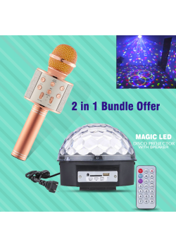 2 In 1 Bundle Offers, Wster Wireless Bluetooth Mini KTV Karaoke Microphone, Magic Led RGB Crystal Ball Dj Disco Light