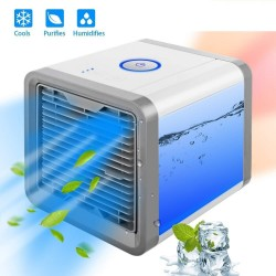 Personal Space Air Conditioner Fan Air Cooler with 7 Color LED Light Purify & Humidity, USB Charger, AC999