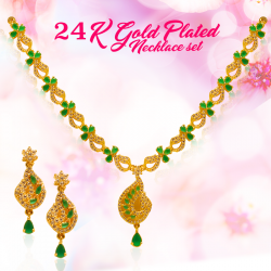 AH Gold Fashion 24K Gold Plated Green Stone Design Necklace, AH3329