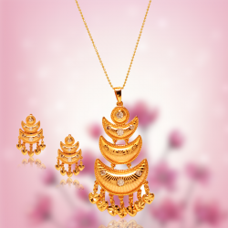 AH Gold Fashion 24K Gold Plated Traditional Design JewelleryNecklace Set, TD01