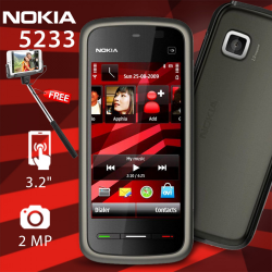 Nokia 5233 XpressMusic, Black with Free selfie stick